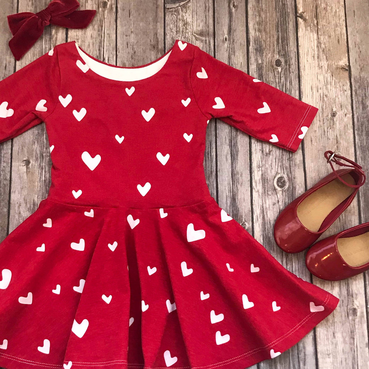 Red Heart Twirl Dress - Elizabeth's Closet