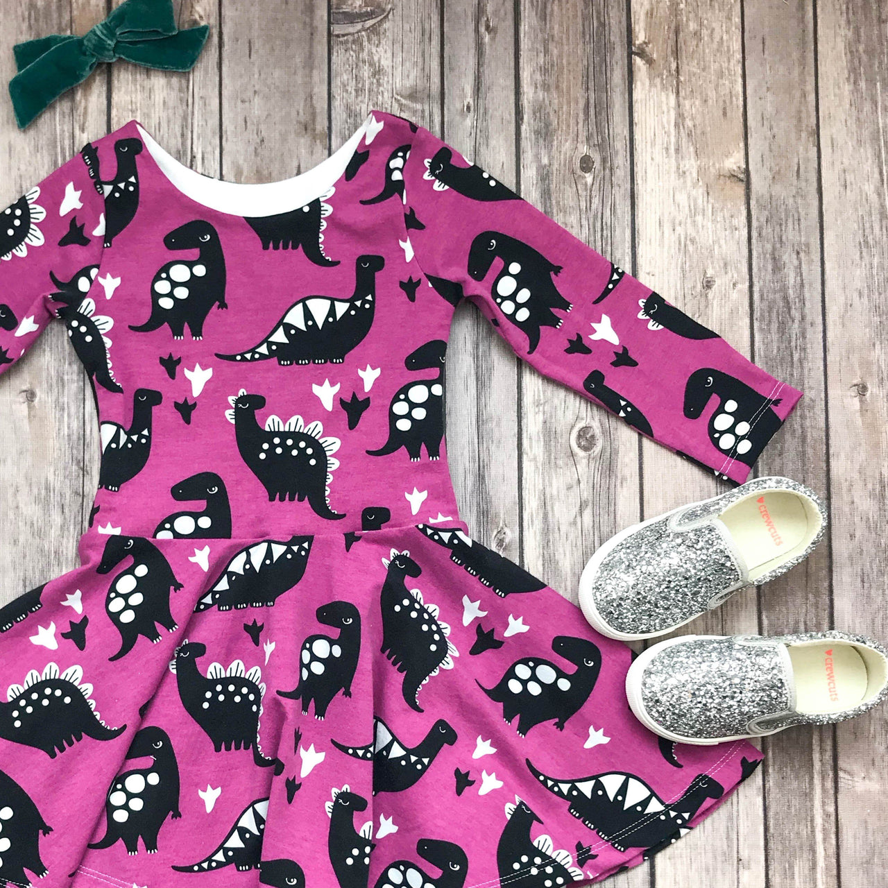 Purple Dinosaur Twirl Dress - Elizabeth's Closet