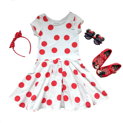 Red and White Polka Dot Twirl Dress