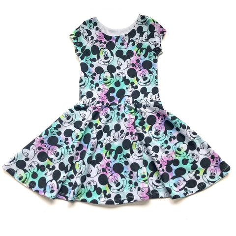 Tie Dye Mouse Face Twirl Dress