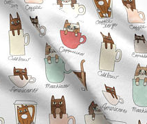Coffee Cup Cats Dress, size 6, 3/4 sleeves