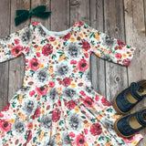 Colorful Fall Floral Twirl Dress - Twirl Dresses