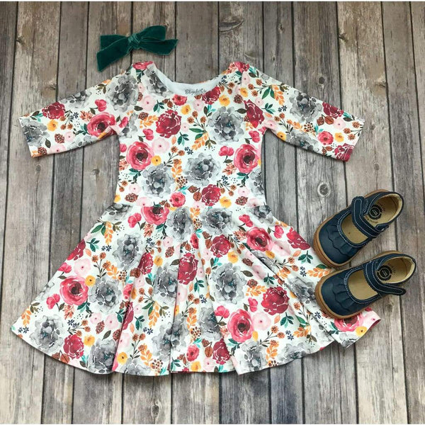 Colorful Fall Floral Dress - Twirl Dresses - Elizabeth's Closet