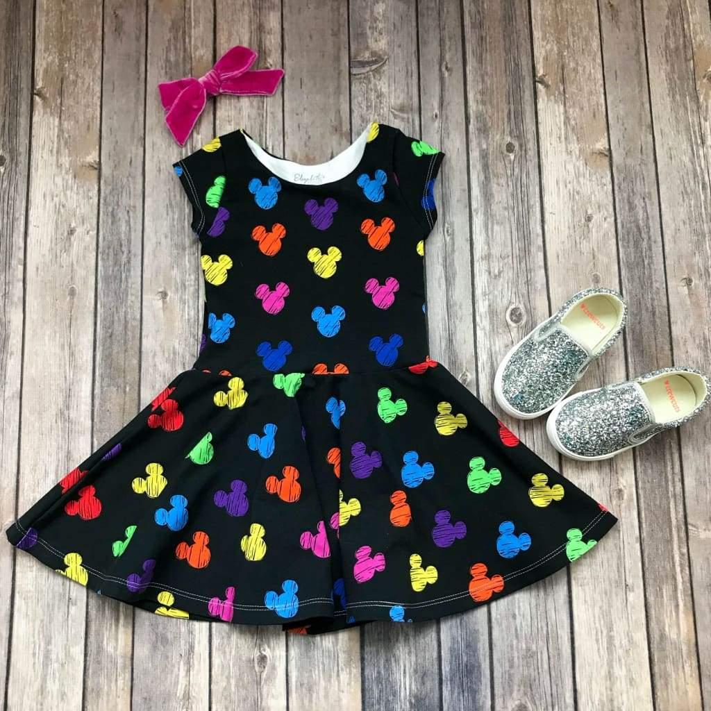 Colorful Mouse Silhouette Twirl Dress - Elizabeth's Closet
