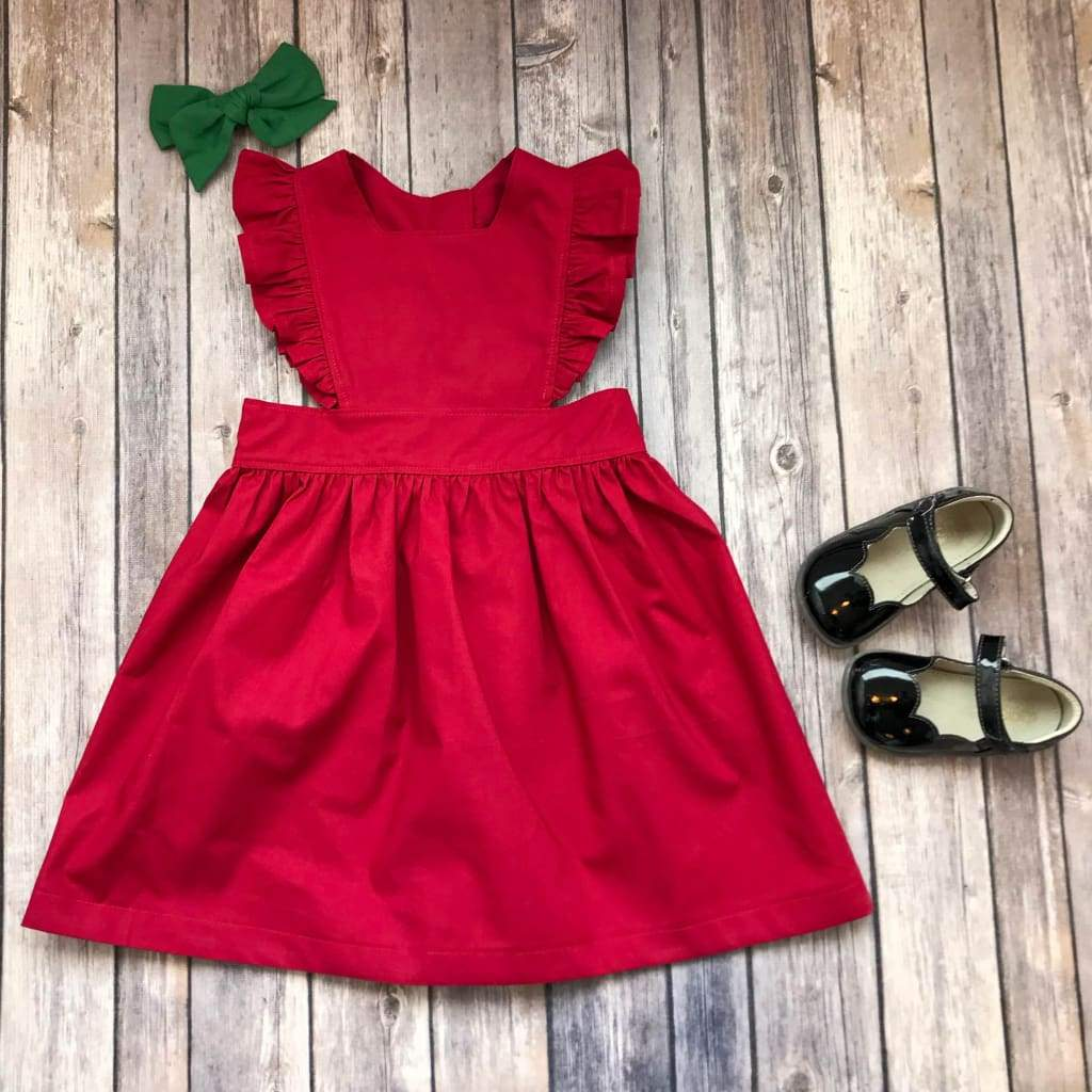 Cranberry Red Pinafore Dress - Elizabeth's Closet