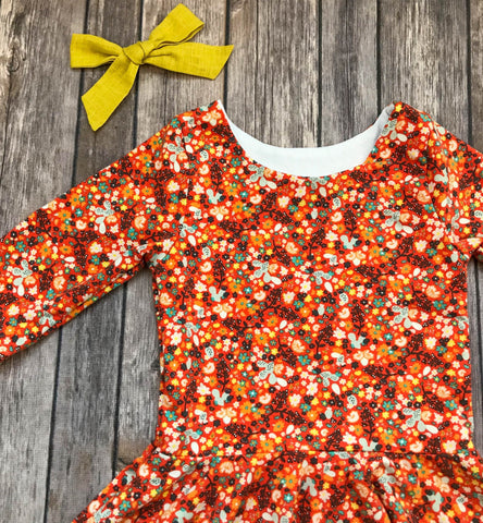 READY TO SHIP: Orange Fall Floral Twirl Dress, Size 3T, Long Sleeves