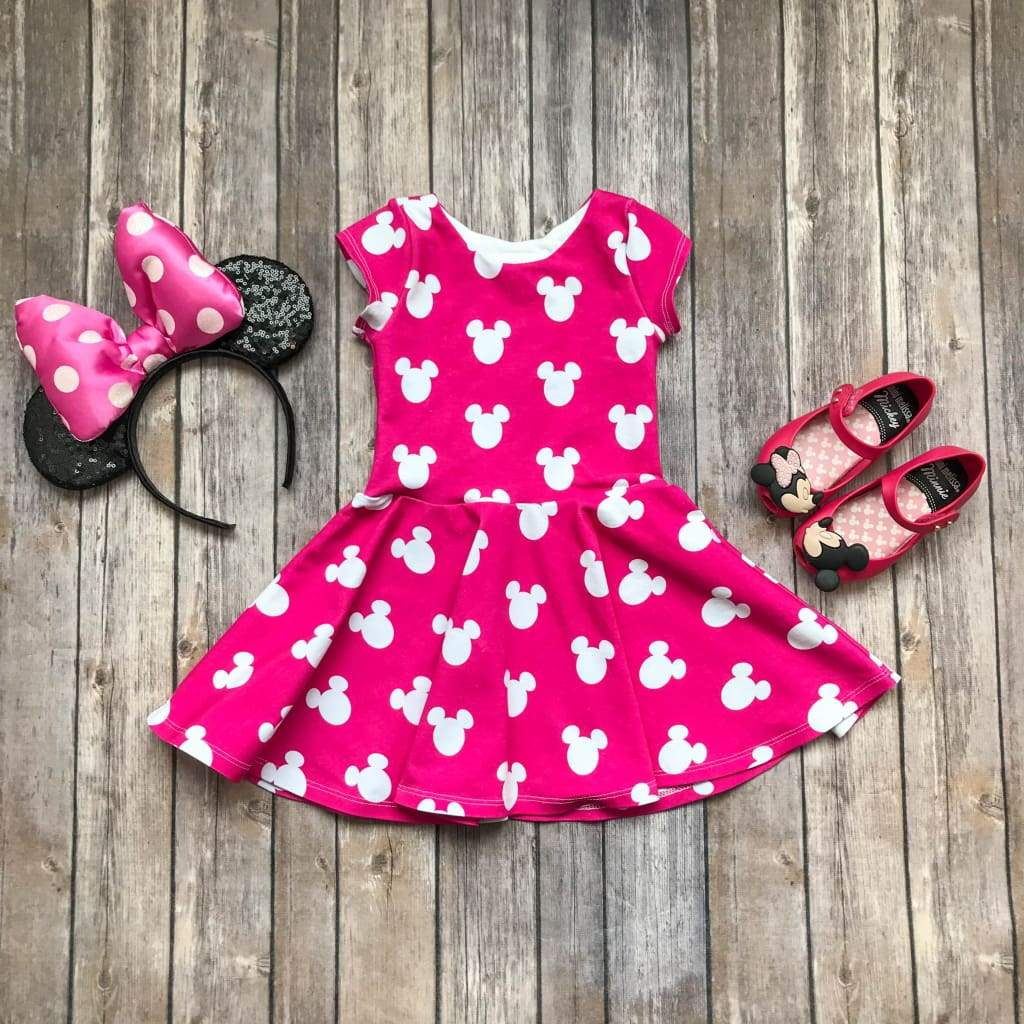 Pink Mouse Silhouette Twirl Dress - Elizabeth's Closet