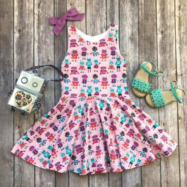 Pink Robot Twirl Dress - Elizabeth's Closet