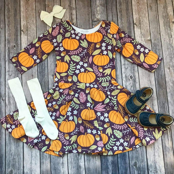 Purple Pumpkin Fall Twirl Dress - Elizabeth's Closet