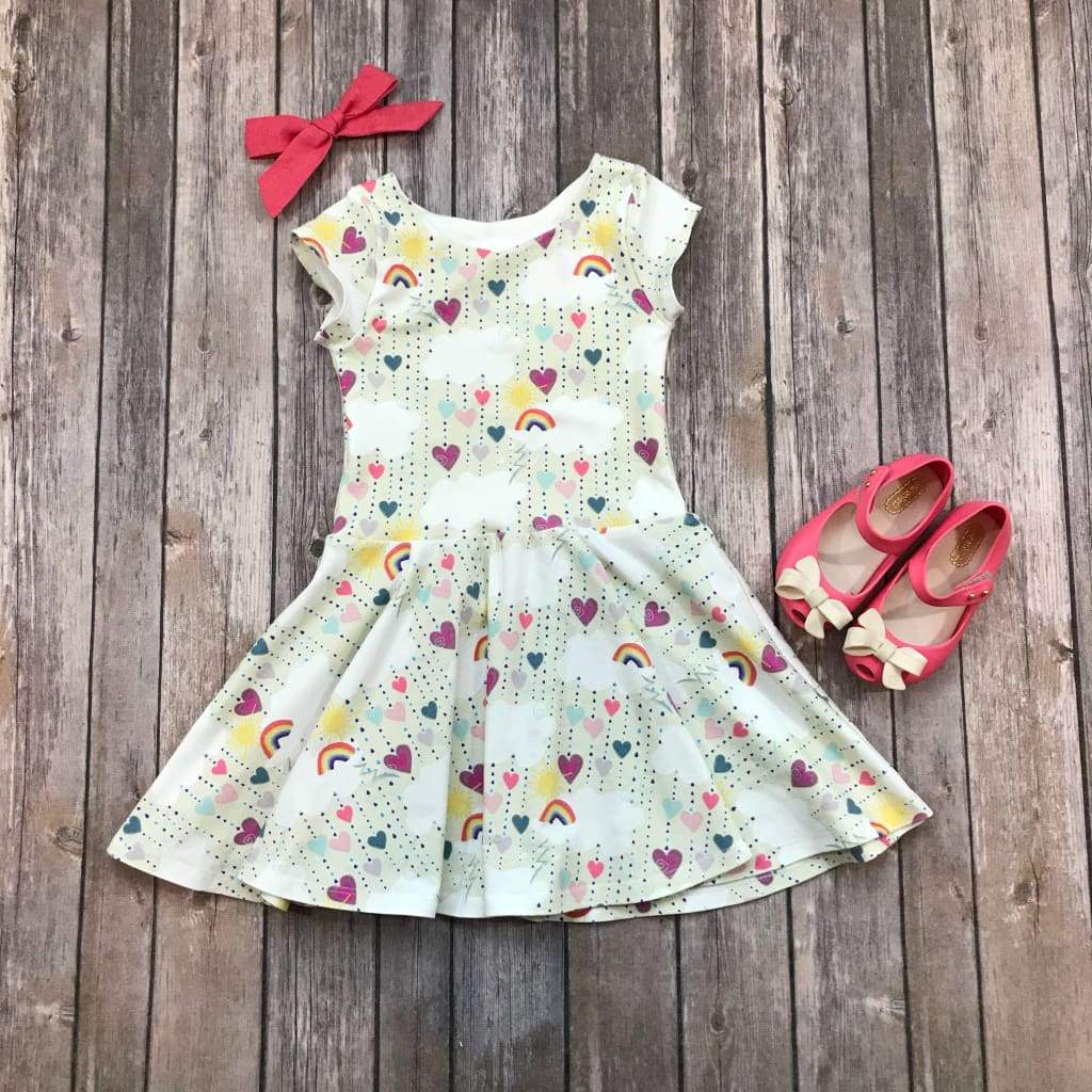 Rainbow Heart Twirl Dress - Elizabeth's Closet
