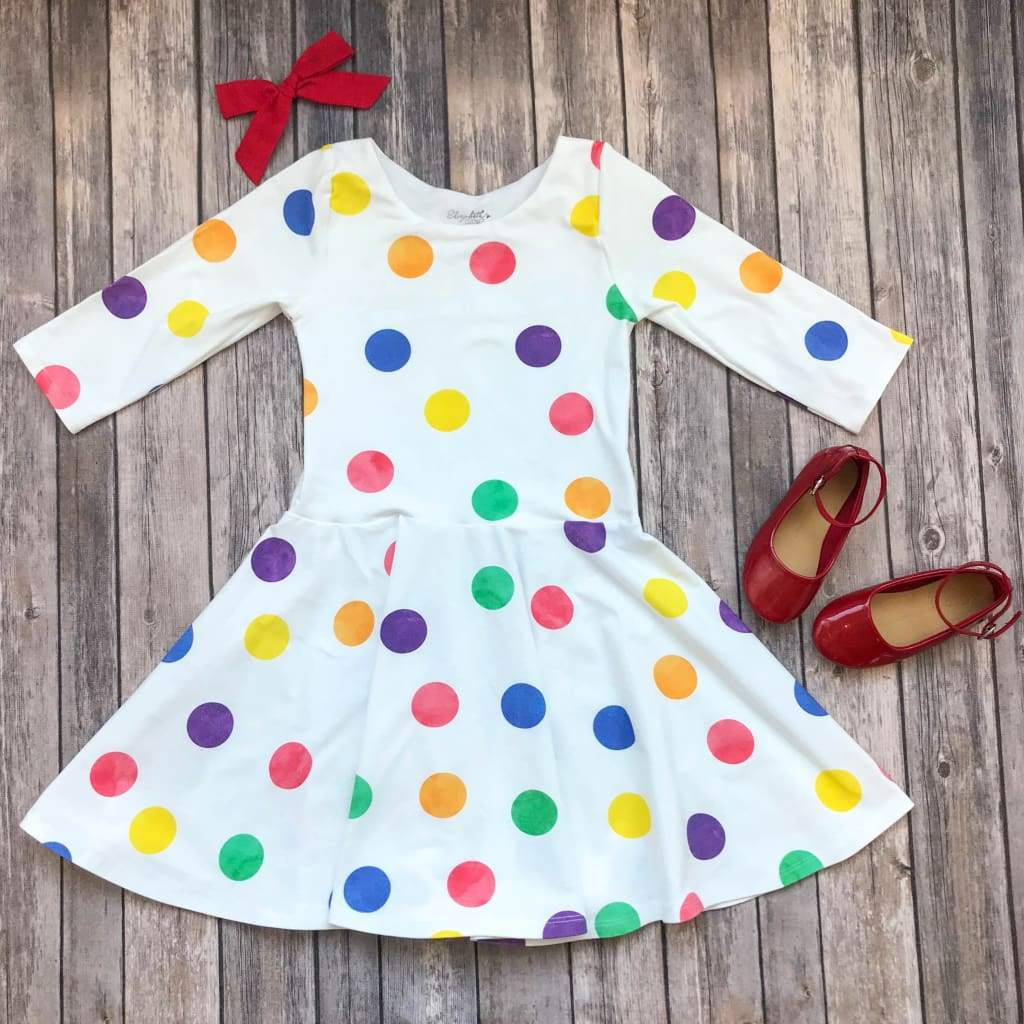 Rainbow Polka Dot Twirl Dress - Elizabeth's Closet