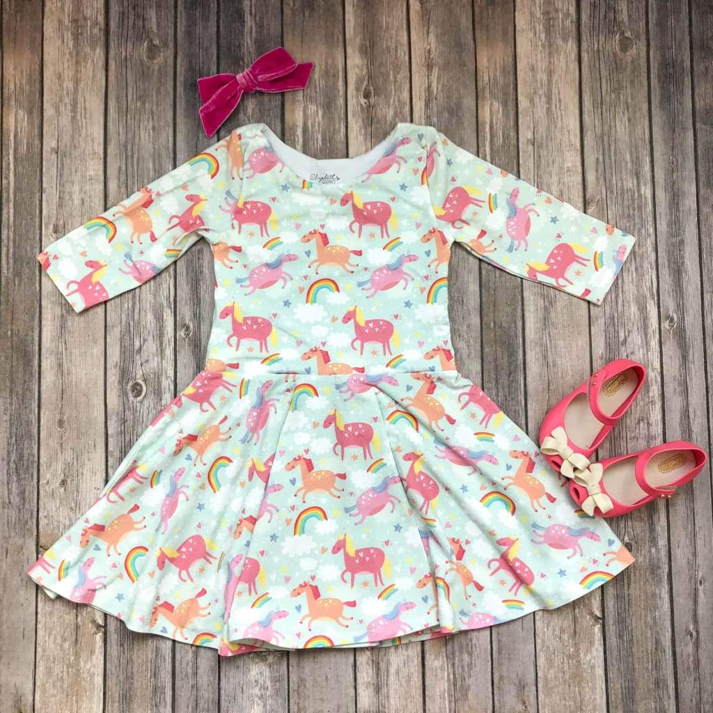 Unicorn Rainbow Twirl Dress - Elizabeth's Closet