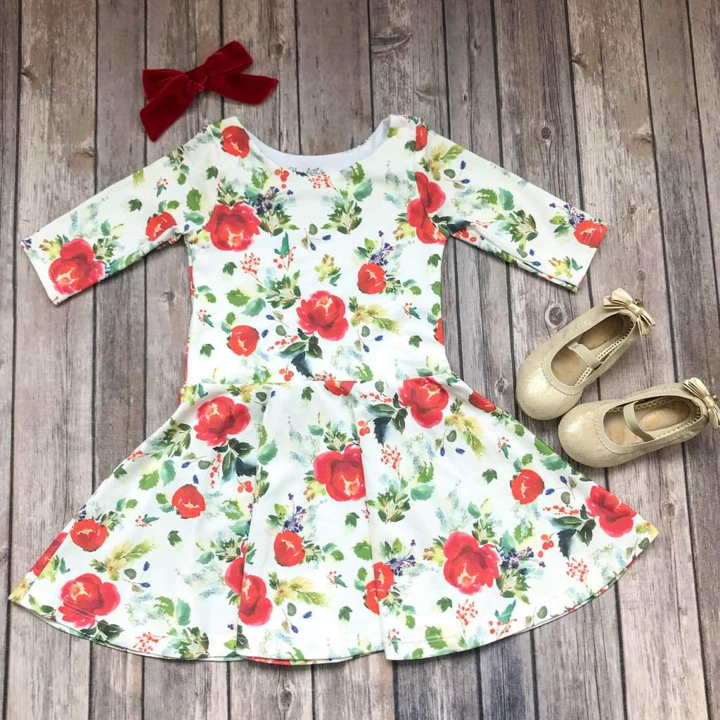 Winter Rose Floral Twirl Dress - Elizabeth's Closet