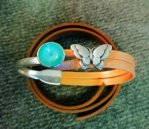 Mint Green with Apricot Leather Bracelet w/ Butterfly Accent slider