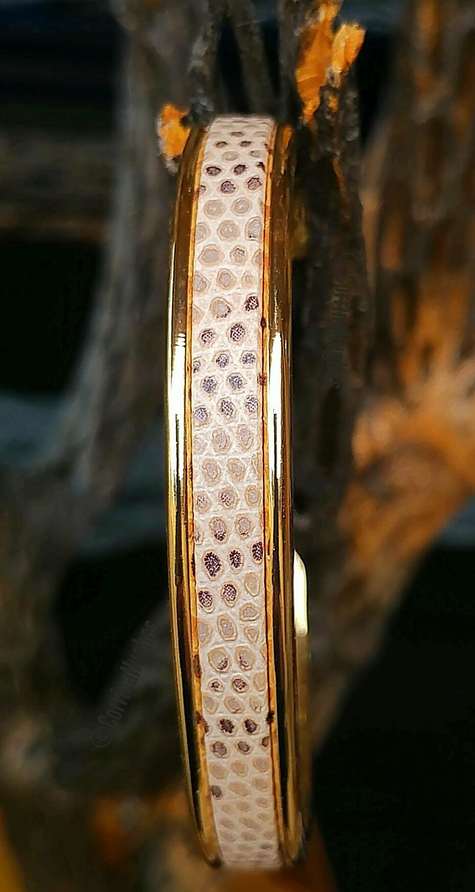 Light Lizard Print Bangle ZamakGold Cuff