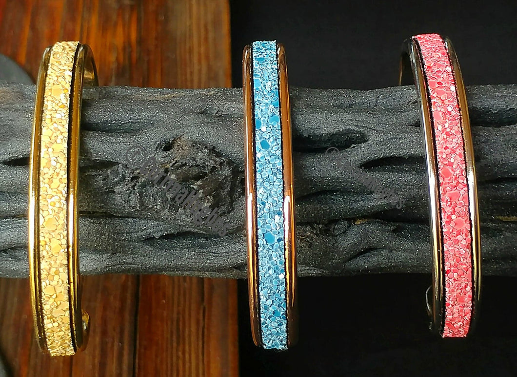 Desert Sands Channel-Set Glitter Leather Bangles- Sandstone Color w/Gold Tone Cuff