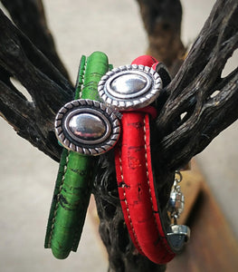 New Mexico Green Chile Bracelet w/Silver Charms