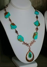 Load image into Gallery viewer, Sonora Skies Turquoise and Hammered Copper Necklace