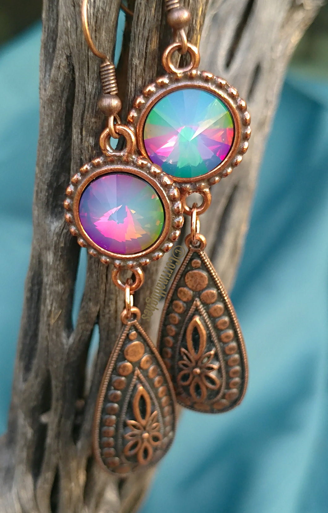 Kaleidoscope Copper Earrings