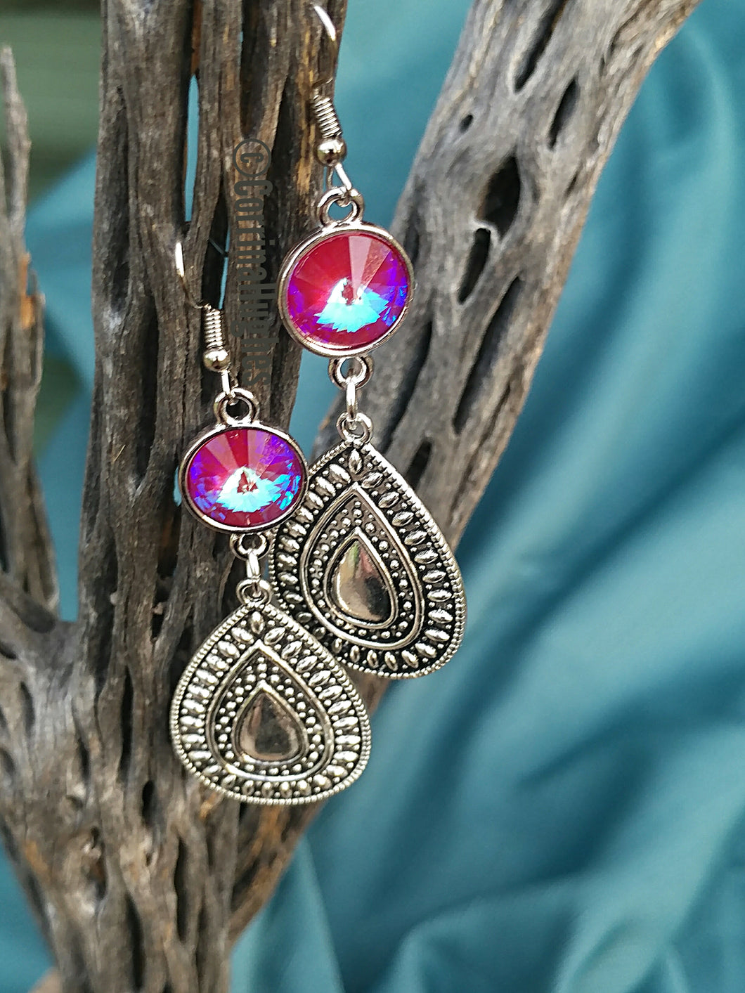 Sangria Silver Drop Earrings