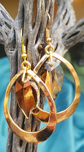 Load image into Gallery viewer, Bronze Leaf Hammered Gold Earrings
