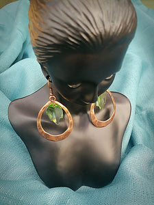 Green Leaf Hammered Copper Earrings