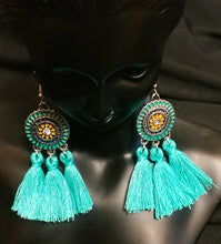 Load image into Gallery viewer, Turquoise Tassel Earrings