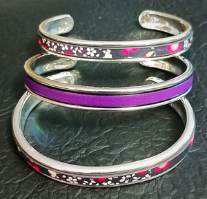 Purple Leather Zamak Cuff