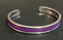 Load image into Gallery viewer, Purple Leather Zamak Cuff