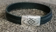 Load image into Gallery viewer, Men's Black Leather Bracelet