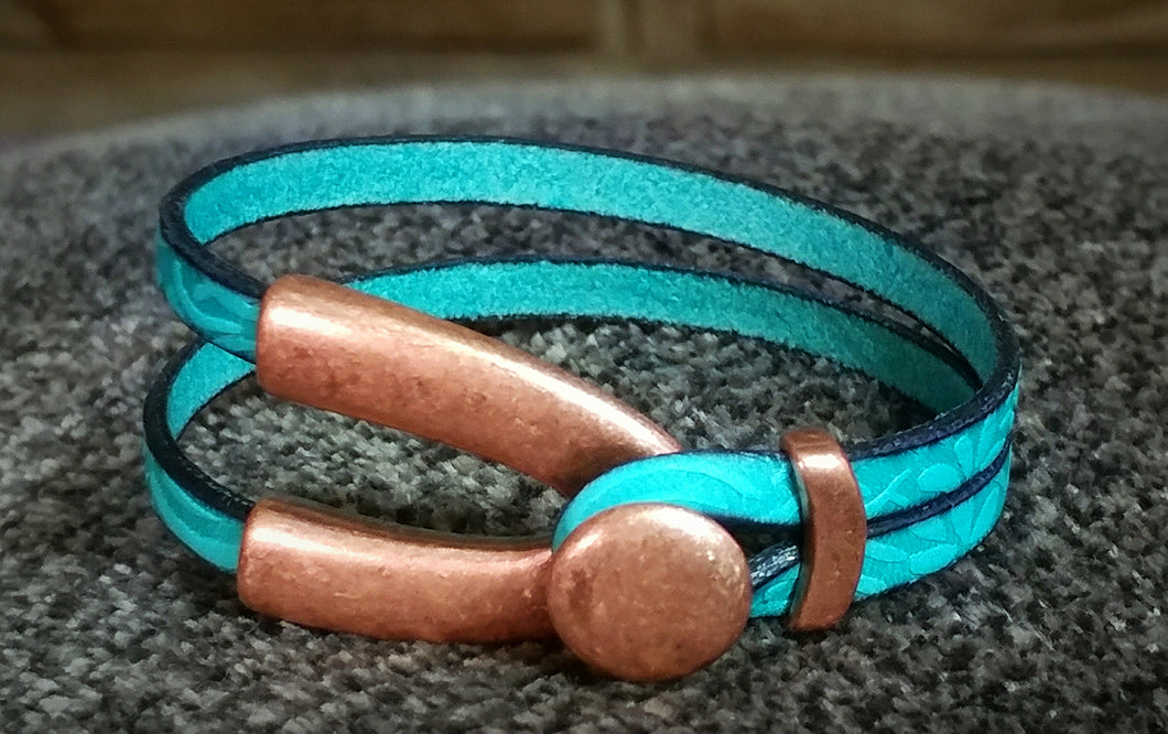 Turquoise & Copper Split Shank Leather Bracelet