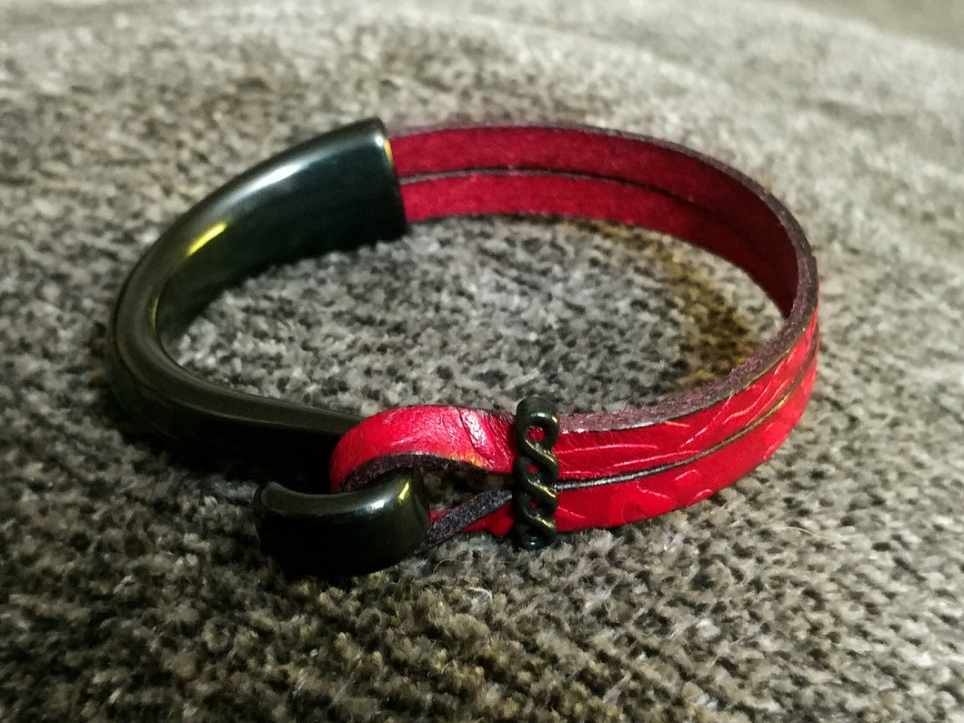 Red & Black Leather Half Cuff