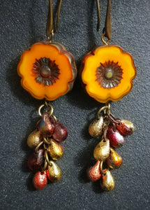 Golden Glow Hollyhock Drop Earrings