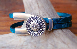 Turquoise Embossed Leather V-Shank Bracelet