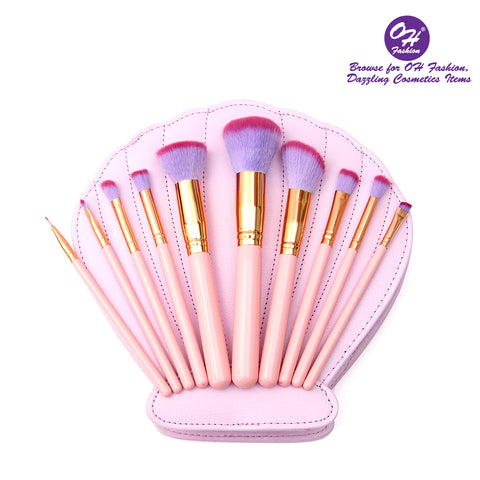 OH Fashion Makeup Brushes Mermaid Shell Kaia set 11 Pieces with Pink Brushes contains Brushes for Highlighting & Contouring, Eyeshadow,  Stippling, Blending, Eyeliner, Powder, Lip