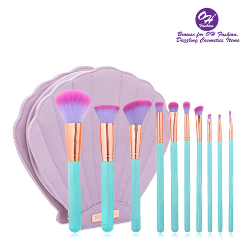 OH Fashion Makeup Brushes Mermaid Shell Oceana set 11 Pieces with Blue Brushes contains Brushes for Highlighting & Contouring, Eyeshadow,  Stippling, Blending, Eyeliner, Powder, Lip