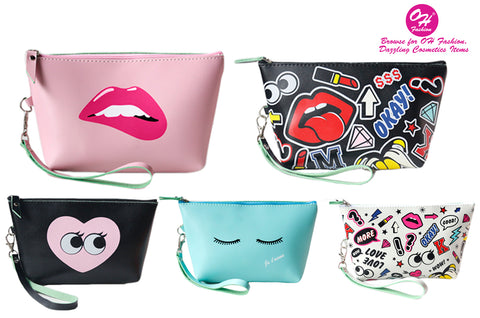 OH Fashion Cosmetic Bag Pink Sassy Lips Women Travel Bag Makeup Bag Clutch Bag Vanity Case Toiletry Bag Beach Bag Pattern Design Medium Size