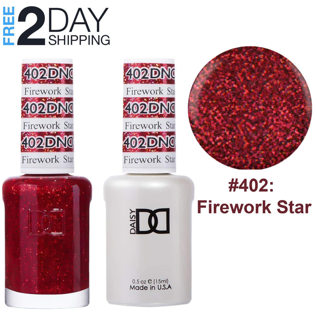 DND Gel Polish & Matching Lacquer Set #402 Firework Star, 0.5 oz