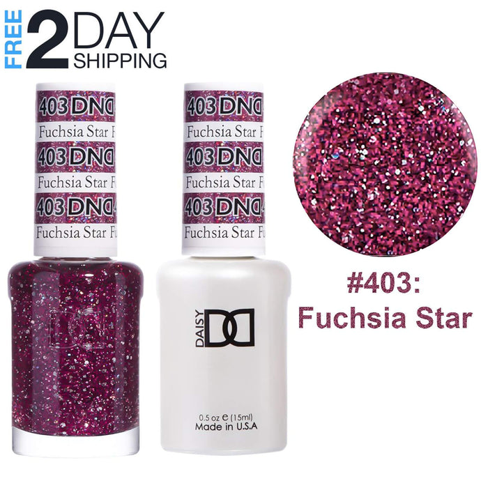 DND Gel Polish & Matching Lacquer Set #403 Fuchsia Star, 0.5 oz
