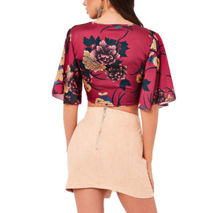 LR Fashion Frontier Crop Top BLOSSOM NIGHTS Fuchsia Red - Superpharma Corporation - ohfashion