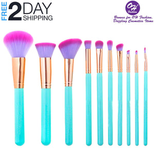 OH Fashion Makeup Brushes Mermaid Shell Blue Oceana, 11 PCs