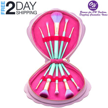 Load image into Gallery viewer, OH Fashion Makeup Brushes Mermaid Shell Blue Oceana, 11 PCs