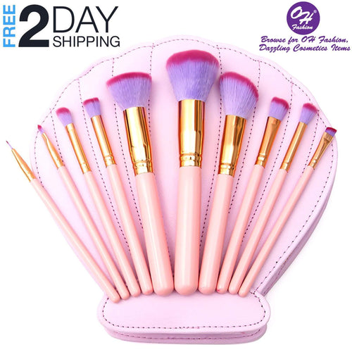 OH Fashion Makeup Brushes Mermaid Shell Pink Kaia, 11 PCs