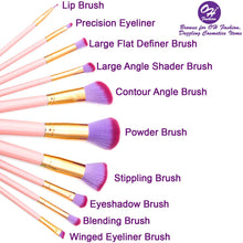Load image into Gallery viewer, OH Fashion Makeup Brushes Mermaid Shell Pink Kaia, 11 PCs