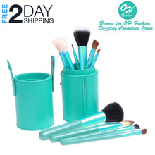 Load image into Gallery viewer, OH Fashion Makeup Brushes Coral Blue, 13 PCs