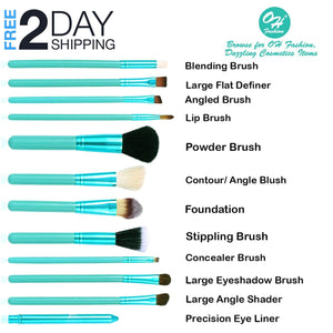 OH Fashion Makeup Brushes Coral Blue, 13 PCs