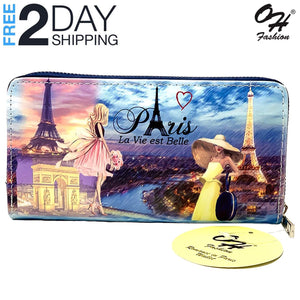 OH Fashion Women's Wallet Zip-Around, Romance in Paris