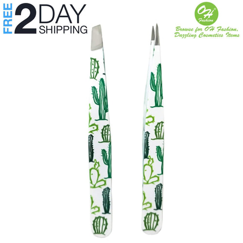 OH Fashion Professional Tweezers Set Cactus, 2 PCs