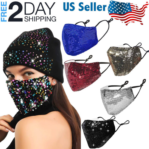 OH Fashion Sequin Glitter Face Mask, 5 Colors