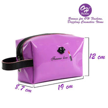 Load image into Gallery viewer, OH Fashion Makeup Bag Lipstick Love Famous in Purple (Medium)